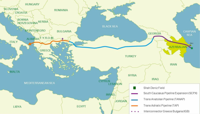 Shah Deniz Project Phase 2 Map