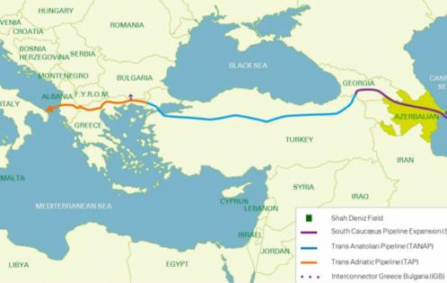 Shah Deniz Project Phase 2 Map